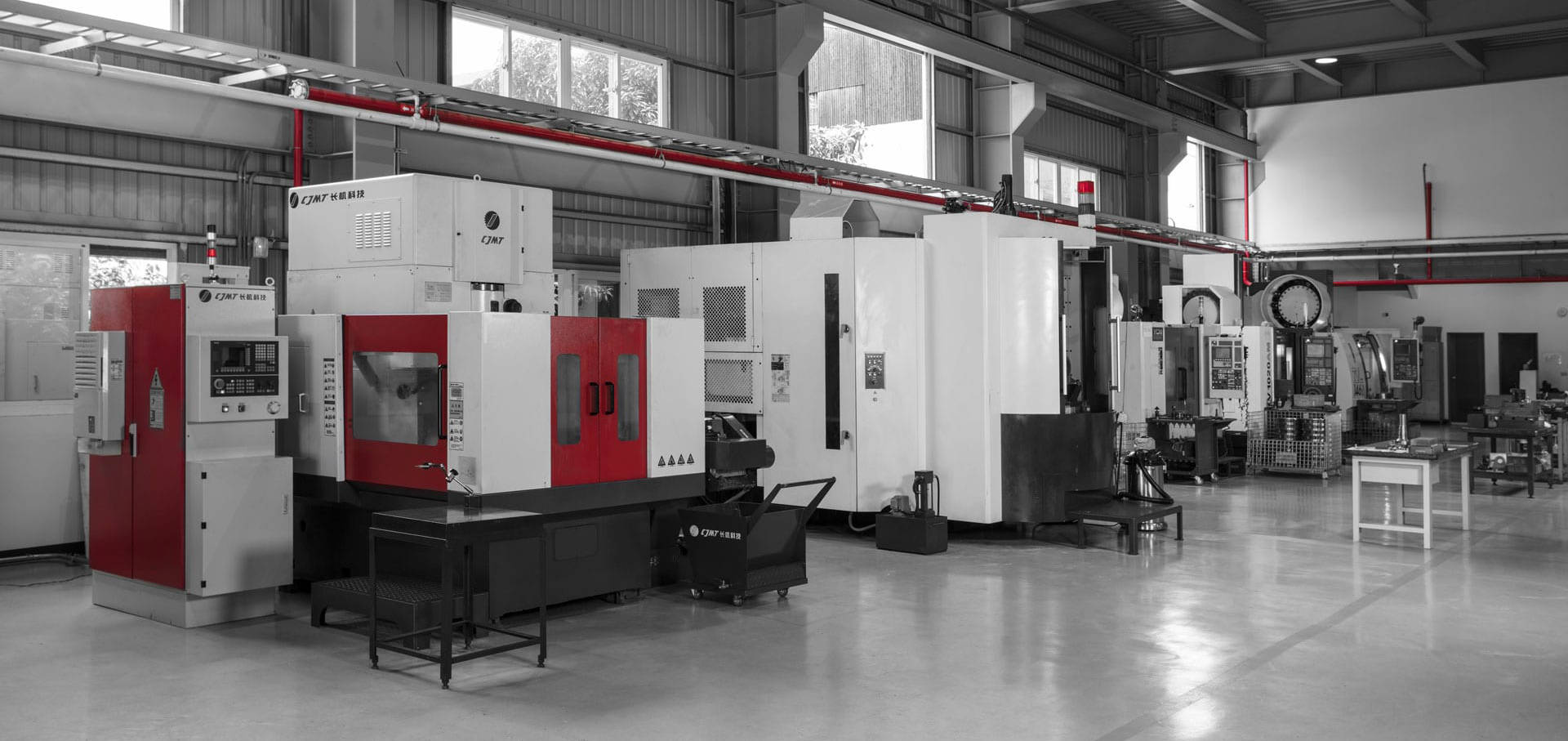 Speed Reducer Production Facility in Taiwan with a row of CNC Machine tools producing the gearboxes and speed reducers